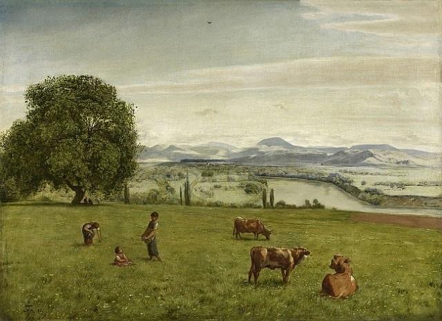rheintal bei säckingen /<br>the rhine valley near säckingen by hans thoma