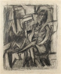 seated figure with still life by jack tworkov