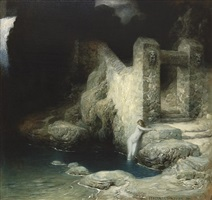 nymphe an der quelle by ferdinand keller