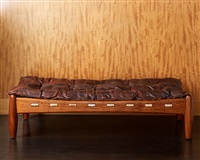 sergio rodrigues bench in bubinga (exotic rosewood) and dark brown leather by sergio rodrigues