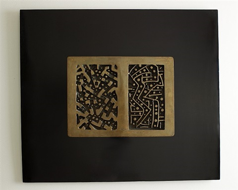lino tine abstract bronze wall sculpture on black wood frame by lino tine