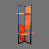 gaetano pesce blue, orange, and black bookcase/screen comprised of 5 rotating panels that turn into shelves held by decorative pins; frame of cast metal by bernini carate brianza; serie