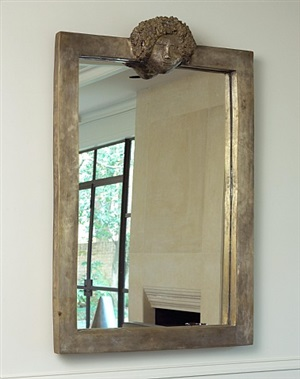 laurent chauvet rectangular mirror in silvered patina with relief of african female by laurent chauvat
