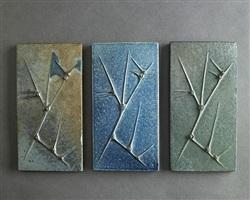 renato bassoli set of 3 tiles in shades of blue/green/gray by renato bassoli