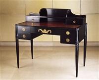 bureau en hêtre et chêne noirci - plateau recouvert de cuir havane by armand-albert rateau