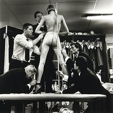 men measuring woman, monte-carlo, 1996 by helmut newton