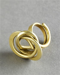 tone vigeland bronze ring with circular layers, signed and stamped by tone vigeland