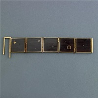 peter macchiarini bracelet of sterling-linked ebony squares and brass inset circles, signed macc by peter macchiarini