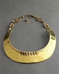 line vautrin gilt, hammered bronze large neck cuff by line vautrin