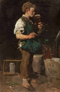 taking a drink (boy with beer) by emmanuel spitzer