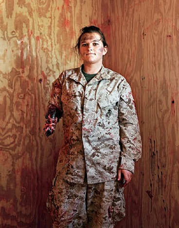 civilian krista galyean playing the role of an american marine injured in an ied blast, wadi al-sahara, marine corps air ground combat center, ca by claire beckett
