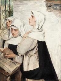 three nuns in prayer by david (dalhoff) neal
