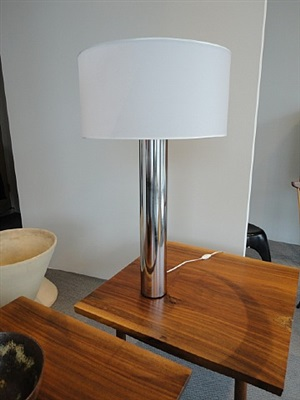 nickel plated steel table lamp by jacques quinet
