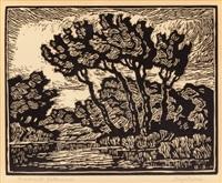 brook with cottonwoods by birger sandzen