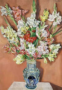 vase with gladiolas by albert paris von gütersloh