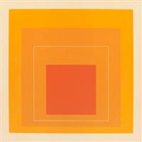 white line squares (orange) vi by josef albers