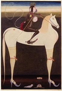 the moon rider official on a white horse by friedrich schröder-sonnenstern
