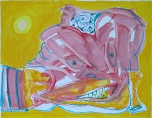 personnage rose en jaune by lucebert