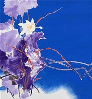 purple white lotus by shi ze