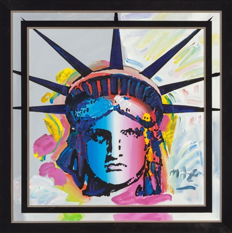 statue of liberty head by peter max on artnet. Black Bedroom Furniture Sets. Home Design Ideas