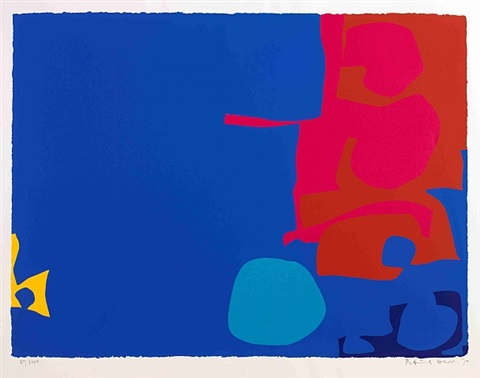 interlocking pink and vermillion with blue by patrick heron