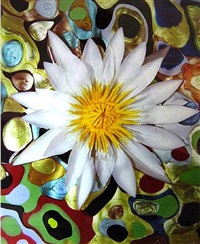white and gold waterlily in nail polish pools by christopher beane