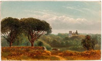view of distant ruins by benjamin champney