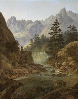 mountain landscape with a wanderer by august piepenhagen