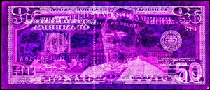 negative currency: fifty dollar bill used as negative by david lachapelle