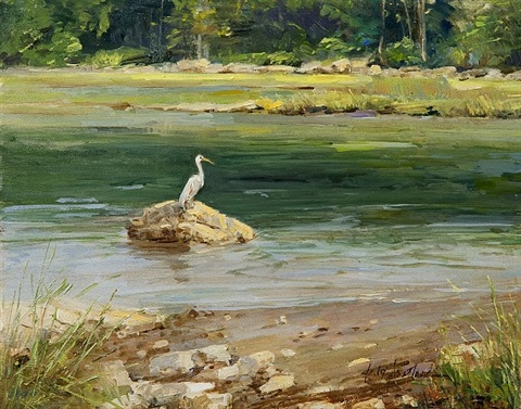egret stillness by sally swatland