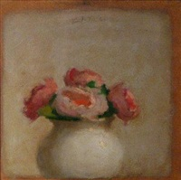 pink flowers in white vase by robert kulicke