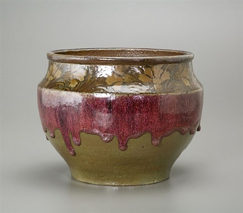 red drip cachepot by albert louis dammouse