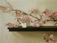 magnolias and stone bird by lisa gloria