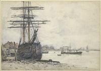 bateaux à marée basse, greenwich by jules lessore