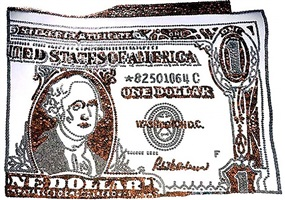 dollar bill, from rebus by vik muniz