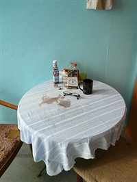hand-painted cloth used as tablecloth by kit lee