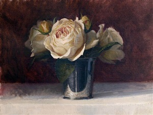 roses in mint julep cup by cindy procious