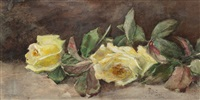 still life with yellow roses by frederick stuart church