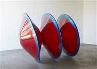 triple disc red with blue lip by de wain valentine
