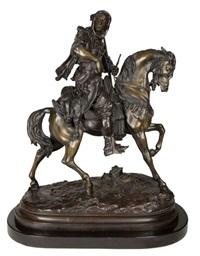 arabian hunter on horseback by emile coriolan hippolyte guillemin and alfred barye