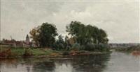 a village on the river by adrien jacques sauzay