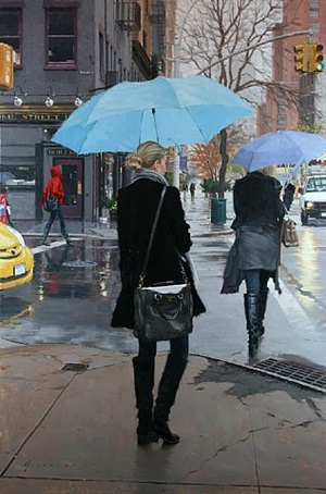 blue umbrellas (sold) by vincent giarrano