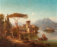 northern italy landscape (possibly lake como) by hermann (august) kruger