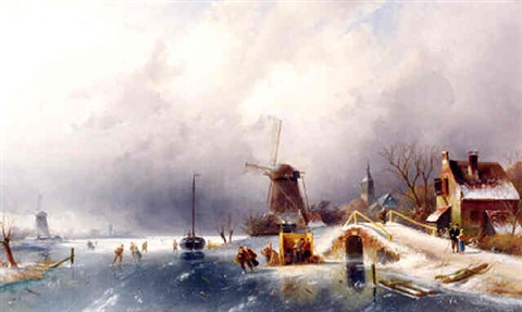 <i>skaters in a winter landscape, holland</i> by charles henri joseph leickert