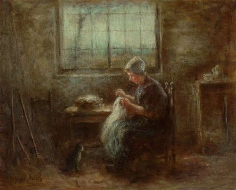 knitting in the sunlight by jozef israëls
