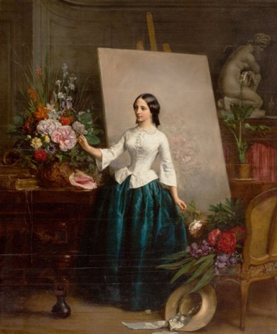 woman flower painter at the easel almost certainly a portrait of his sister suzanne estelle beranger apoil by jean baptiste antoine emile beranger