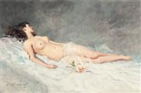 reclining nude by lucien henri grandgerard