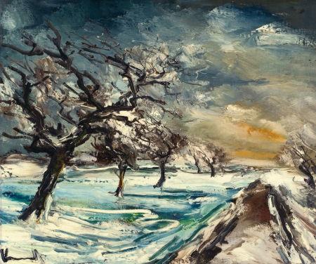 normandie pommiers dans la neige by maurice de vlaminck