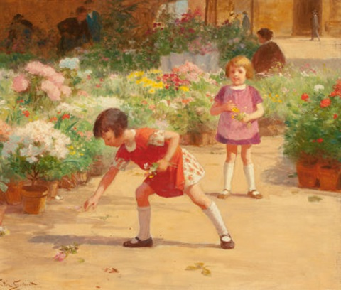 gathering flowers by victor gabriel gilbert