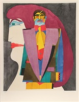 """portrait no. 1 from the """"after noon"""" portfolio by richard lindner"""